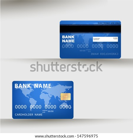 Vector illustration of detailed credit card visa. eps10 vector illustration - stock vector