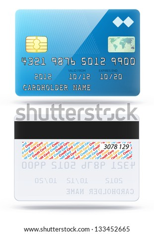 Vector illustration of detailed glossy blue credit card isolated on white background - stock vector