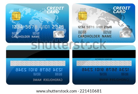 Vector illustration of detailed glossy credit card isolated on white background  - stock vector