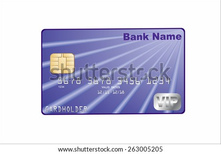 Vector illustration of detailed glossy credit card on white background - stock vector