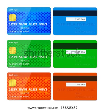Vector illustration of detailed glossy credit cards isolated on white background