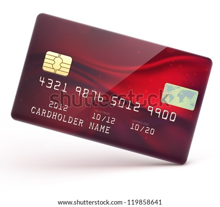 Vector illustration of detailed glossy red credit card isolated on white background - stock vector
