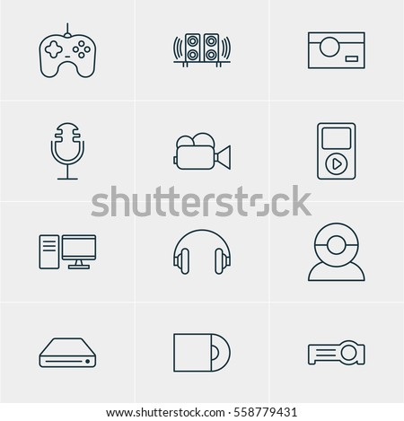 Vector Illustration Of 12 Device Icons. Editable Pack Of Dvd Drive, Joypad, Photography And Other Elements.