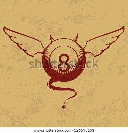 Vector illustration of devil red eight ball with horns, wings and tail - stock vector