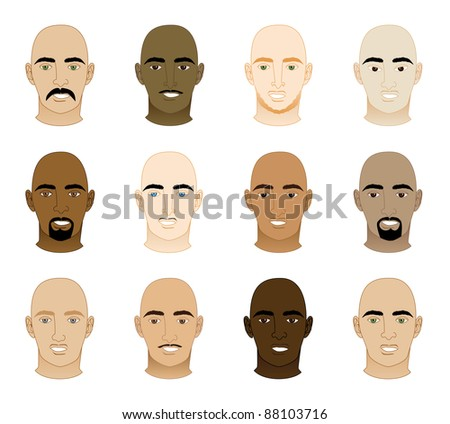 Vector Illustration of 12 different Bald Men Faces. - stock vector
