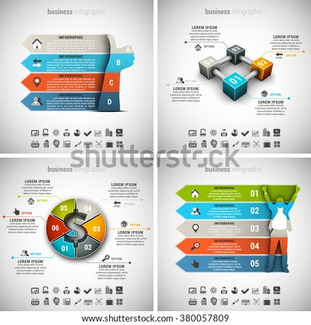 Vector illustration of different business infographics. Vol.41.