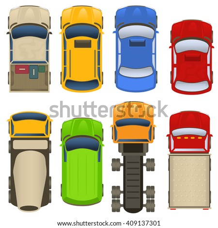 Vector illustration of different cars and trucks, top view - stock vector