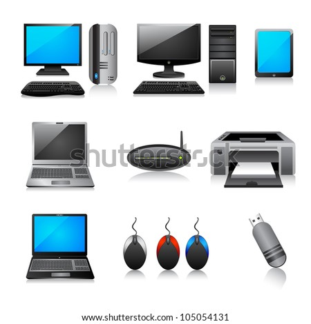 vector illustration of different computer icon against white background - stock vector