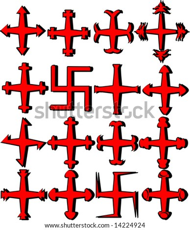 Vector illustration of different crosses
