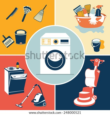 Vector illustration of different flat cleaning icons - stock vector