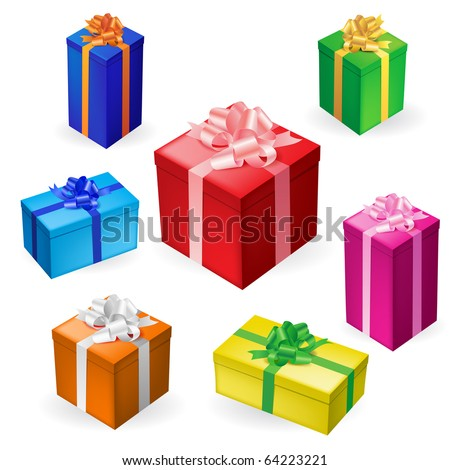 Vector illustration of 7 different gift boxes with ribbon - stock vector