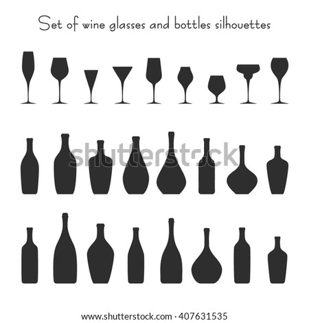 Vector illustration of 9 different glasses and 16 bottles silhouettes set. Isolated dishes on white background. Fully editable wine glasses collection for packaging design, decor, menu, wine list. - stock vector
