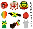 Vector Illustration of 9 different Jamaican icons. - stock photo