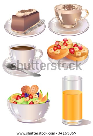 Vector illustration of different  kind of desserts - stock vector