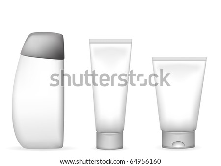 vector illustration of different lotion and shampoo tubes - stock vector