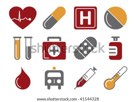 Vector illustration of 12 different medical icons, red and orange color scheme - stock vector