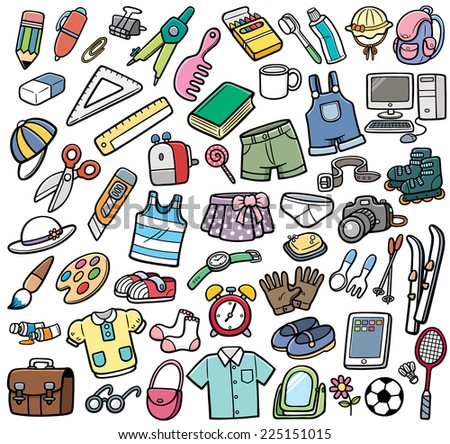 Vector Illustration of Different objects - stock vector