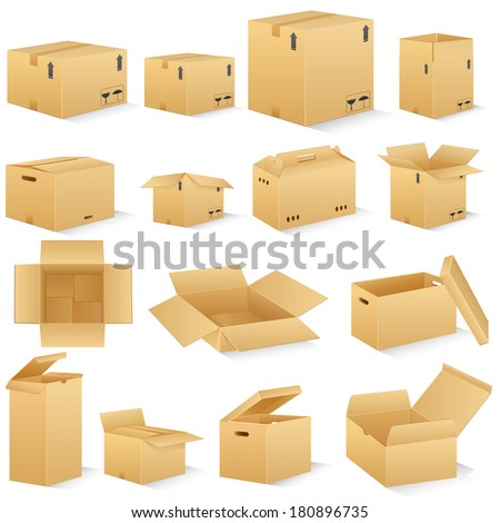 vector illustration of different shape carton box - stock vector