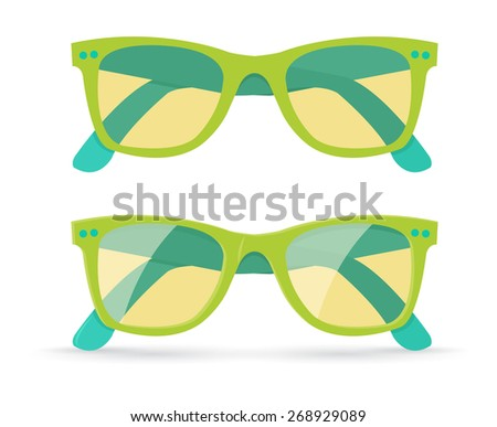 Vector illustration of different style sunglasses, isolated on white background, eps10  - stock vector