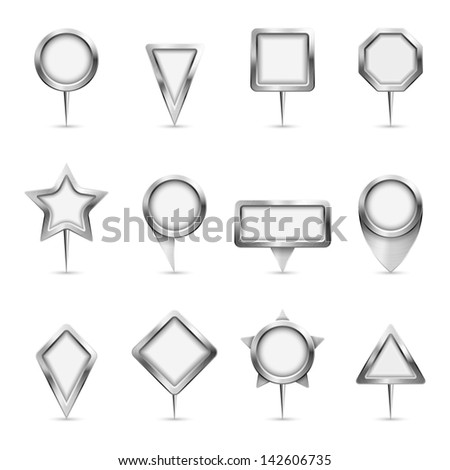 Vector illustration of different types of metallic map markers. - stock vector