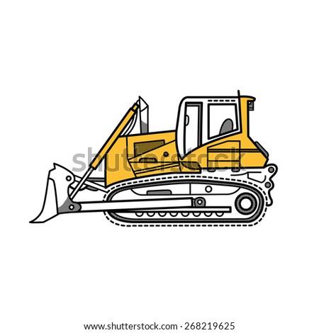 Vector illustration of digger, bulldozer - stock vector