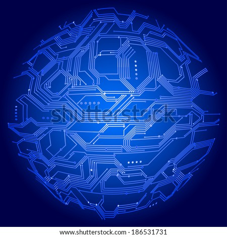 Vector illustration  of digital background with blue sphere made of circuit board. Gradients are used. EPS8 - stock vector