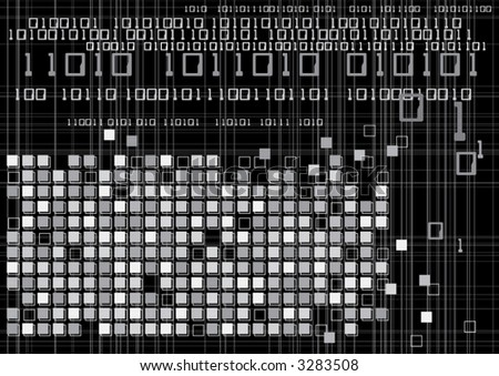 Vector illustration of digital binary code technology