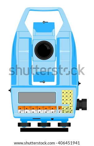 Vector illustration of digital geodetic instrument for precise angles and distance measurement - stock vector