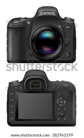 Vector illustration of digital SLR  Camera System with prime lens mounted. Front and back sides - stock vector