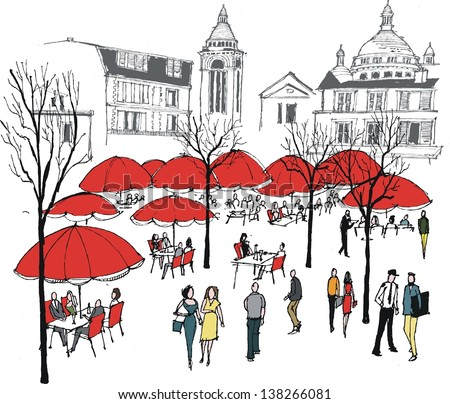 Vector illustration of diners at cafe restaurant near Montmartre, Paris France. - stock vector