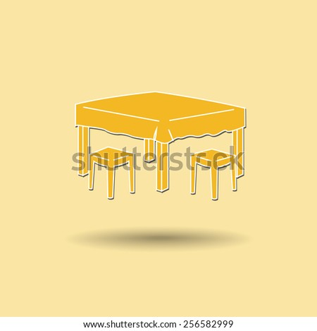 Vector illustration of  Dining table color background. - stock vector