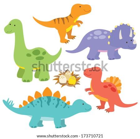 Vector illustration of dinosaurs including Stegosaurus, Brontosaurus, Velociraptor, Triceratops, Tyrannosaurus rex, Spinosaurus. - stock vector