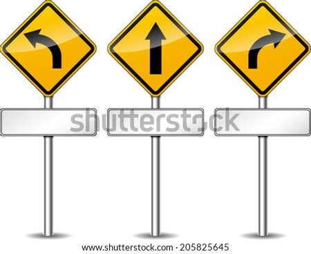 Vector illustration of directional yellow set signs - stock vector