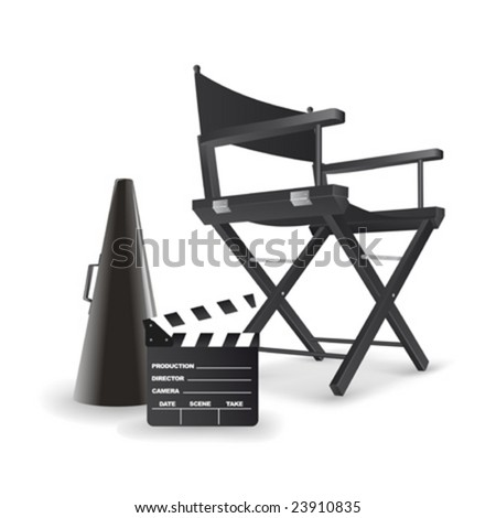 Vector illustration of director's chair. All objects are completely. So you can easily customize this work - stock vector