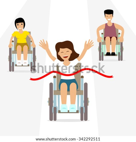 Vector illustration of disabled people's competition. Happy winner - woman in wheelchair - holds her hands up, her rivals behind. Concept for disabled sport, success, paralympic games, championship. - stock vector