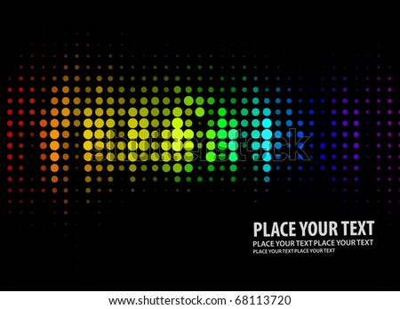 Vector illustration of disco lights dots pattern on black background - stock vector