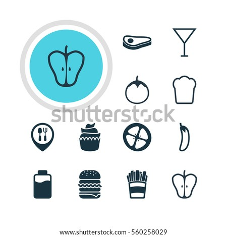 Vector Illustration Of 12 Dish Icons. Editable Pack Of Beefsteak, Potato , Sandwich Elements.