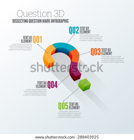 Vector illustration of dissecting question mark concept 3d infographic design element. - stock vector