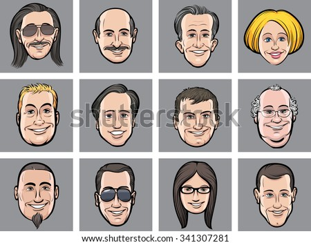 vector illustration of diverse business people faces - stock vector
