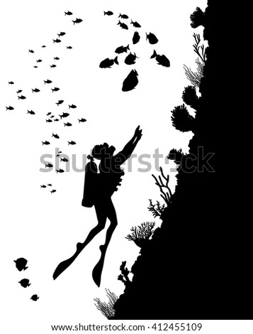 Vector illustration of diving Silhouettes and underwater life