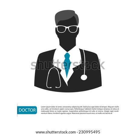 Vector illustration of Doctor character man image - stock vector