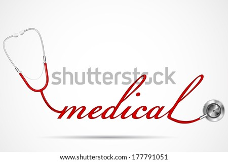 vector illustration of doctor's stethoscope forming medical word