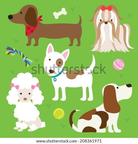 Vector illustration of dogs with toys. - stock vector