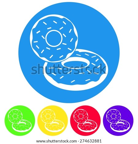 Vector illustration of donut dessert icon on white background. Flat design style set. Circle. - stock vector