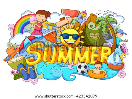 vector illustration of doodle of Summer poster - stock vector