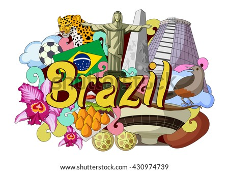 vector illustration of Doodle showing Architecture and Culture of Brazil - stock vector