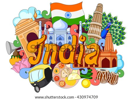 vector illustration of Doodle showing Architecture and Culture of India - stock vector