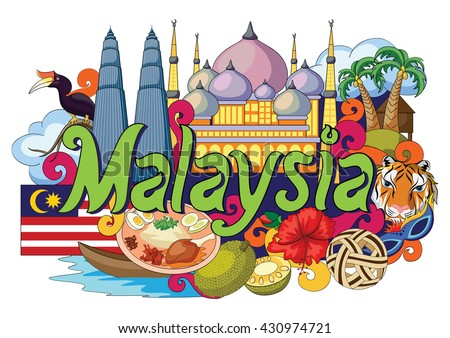 vector illustration of Doodle showing Architecture and Culture of Malaysia - stock vector