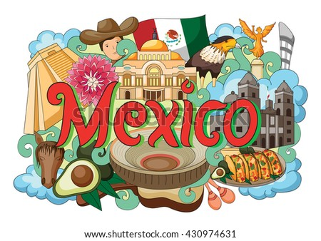 vector illustration of Doodle showing Architecture and Culture of Mexico - stock vector