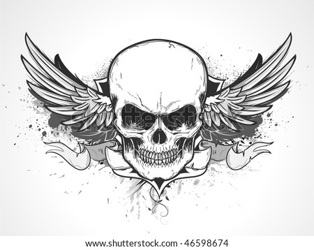 Vector illustration of double winged human skull with banner and grunge background - stock vector
